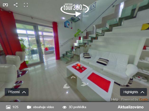 Virtuální prohlídka interiéru rodinného domu - ukázka ČESKÉREALITY.cz podporují virtuální prohlídky nemovitostí 3DVista, Cupix, Matterport a Vizor
