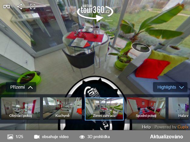 Virtuální prohlídka zimní zahrady rodinného domu - ukázka ČESKÉREALITY.cz podporují virtuální prohlídky nemovitostí 3DVista, Cupix, Matterport a Vizor