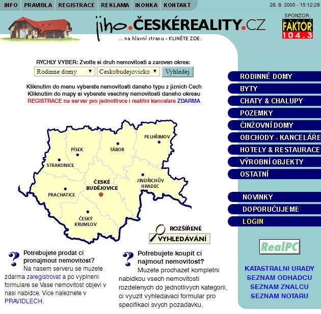 Ukázka první verze webu z roku 2000: ČESKÉREALITY.cz slaví právě dnes 20 let