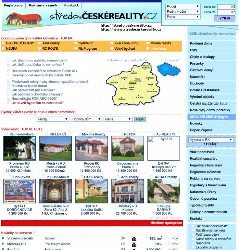 Ukázka webu z roku 2006: ČESKÉREALITY.cz slaví právě dnes 20 let