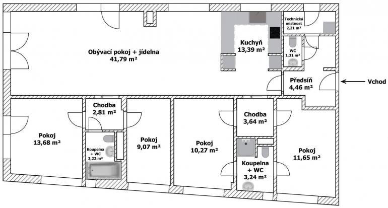 Půdorys podobný tomu technickému Pro makléře: Jak chytře na půdorys bytu