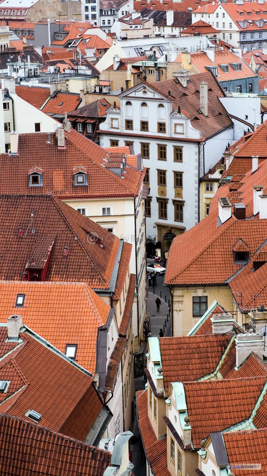 Historické městské domy, letecký pohled.