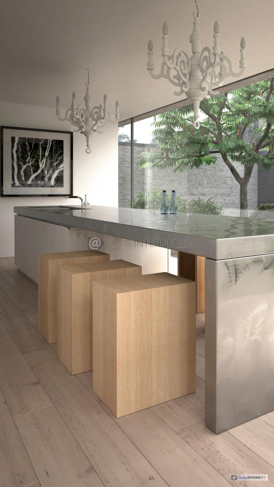 Kuchyňská pracovní deska v prosklené místnosti.