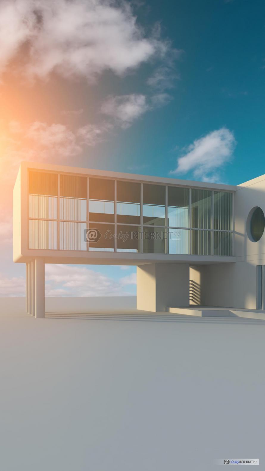 Vizualizace komerční budovy.