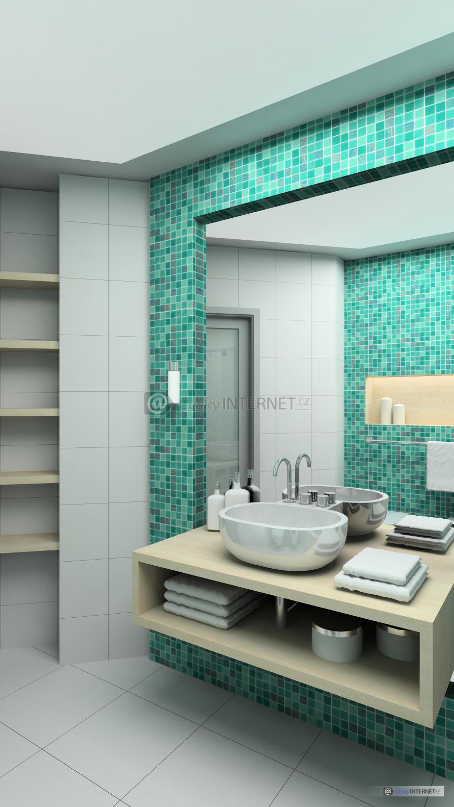 Moderní koupelna, obložená stěna se zrcadlem a volně stojícím umyvadlem.