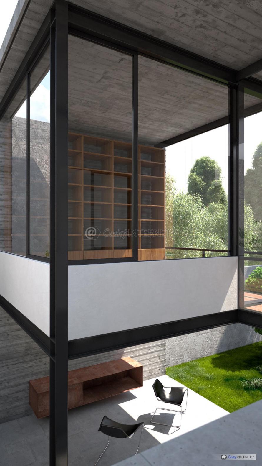 Moderní vyvýšená prosklená terasa.