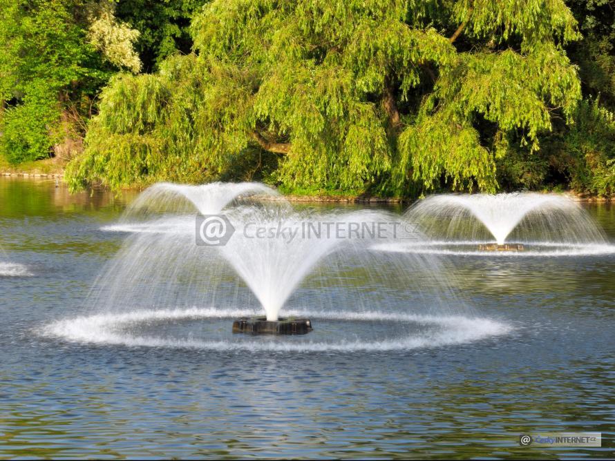 Vodotrysky na vodní ploše uprostřed přírody.
