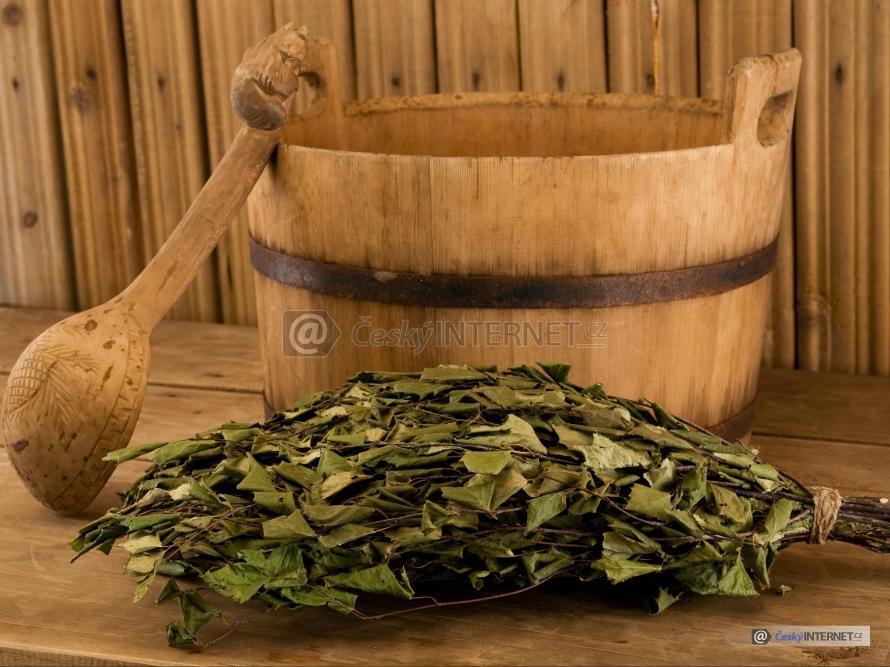 Detail saunové naběračky, nádoby a svazku březových větviček na lavici.