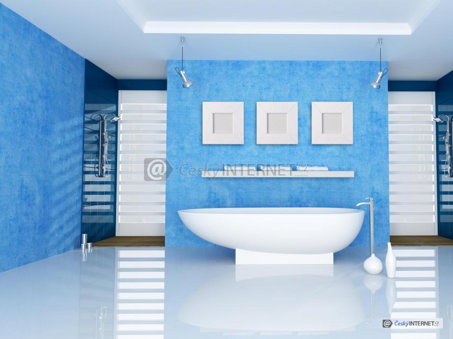 Moderní koupelna se samostatně stojící vanou a dvěma sprchovými kouty.