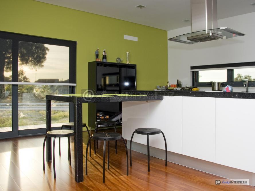 Moderní kuchyně s jídelním pultem a prosklenou stěnou.