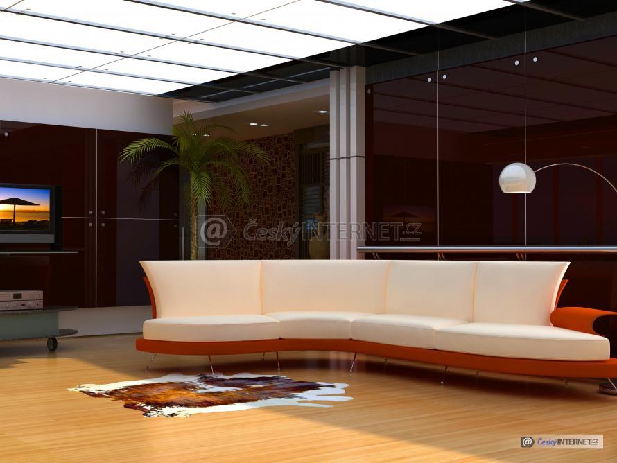 Moderní obývací pokoj, čalouněná sedací souprava.