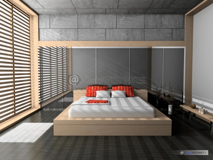Moderní ložnice, manželská postel.