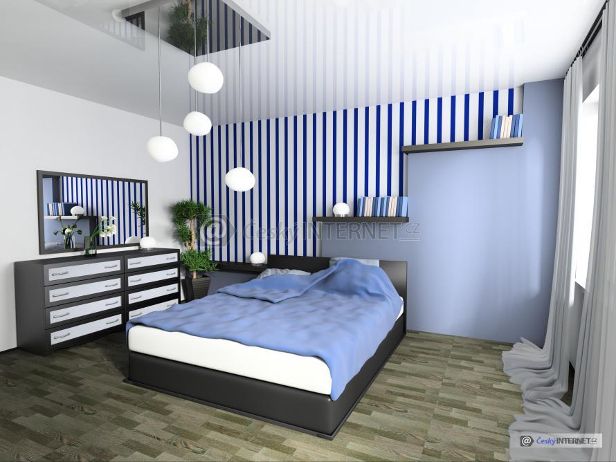 Moderní interiér, ložnice.