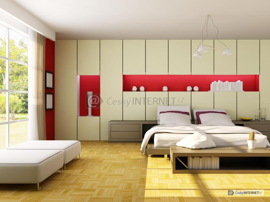 Ložnice s prosklenou stěnou.