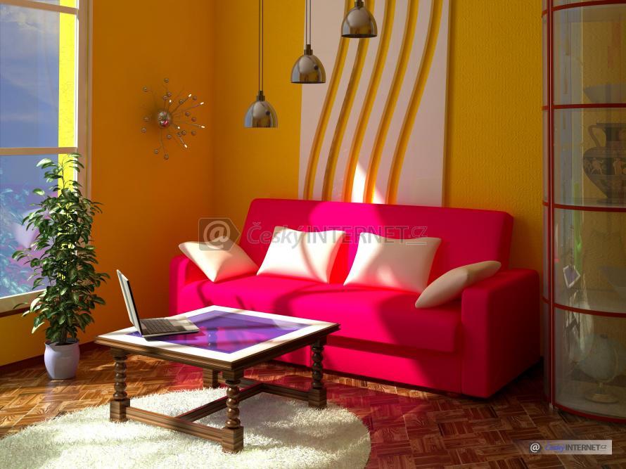 Prosvětlený obývací pokoj.