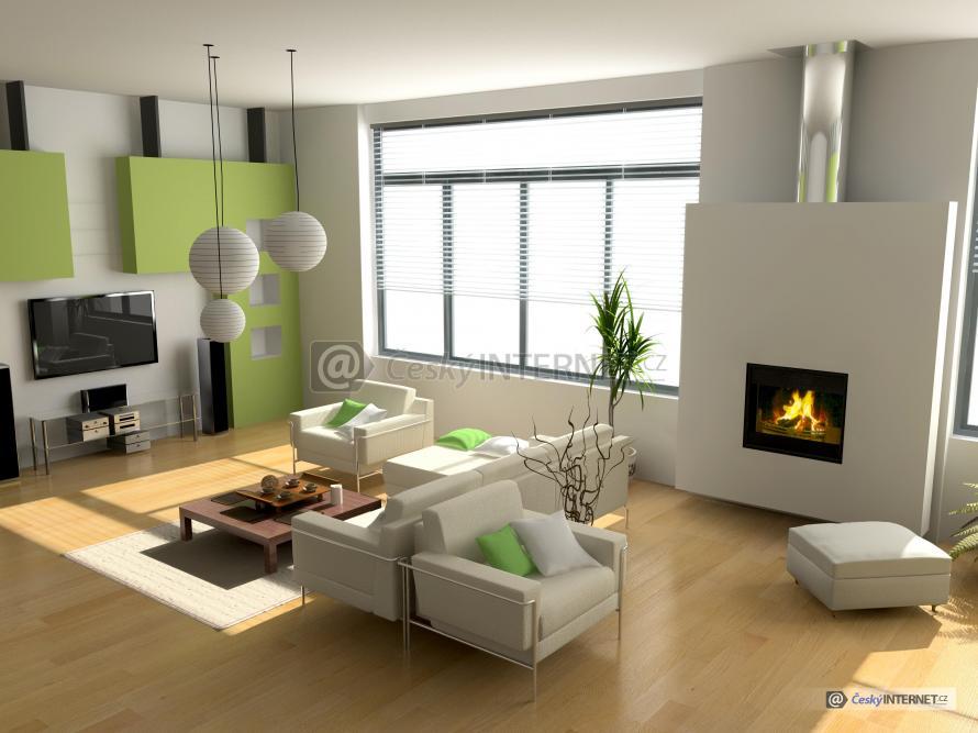 Moderní obývací pokoj s krbem.