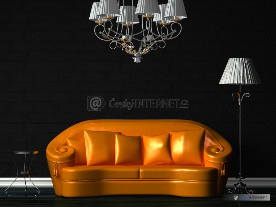 Aranž zlaté kožené sedací soupravy