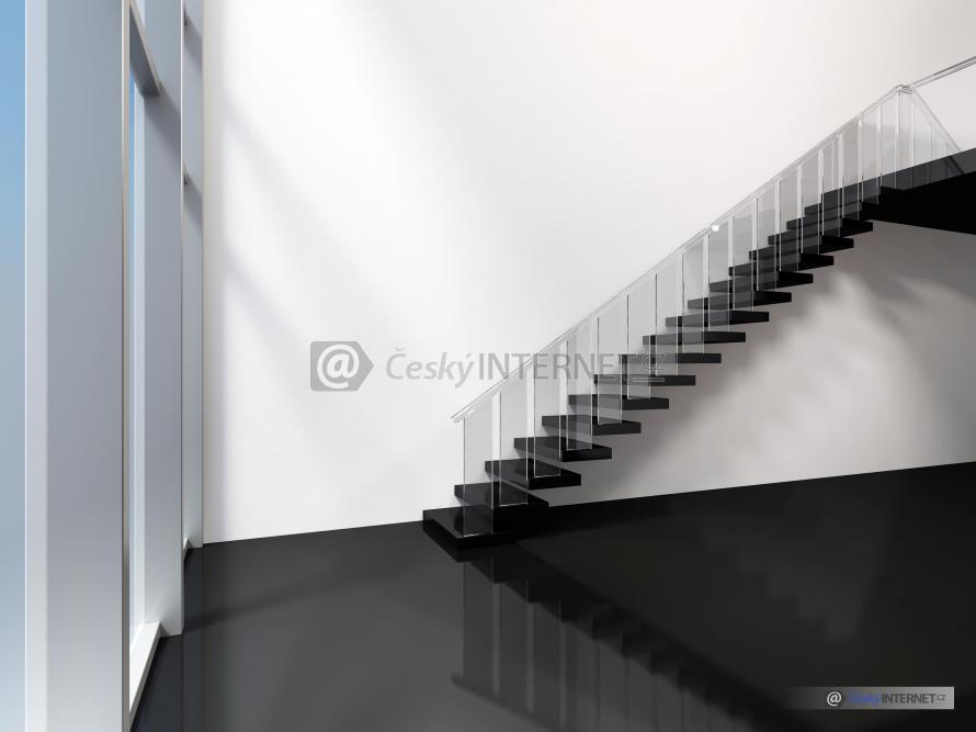 Moderní schodiště v interieru.