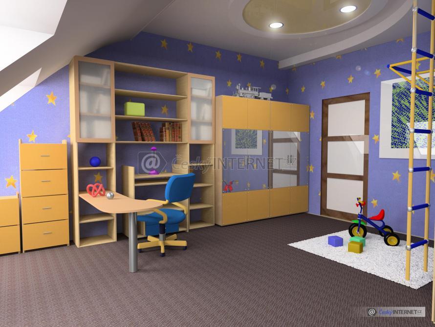 Členitý dětský pokoj.