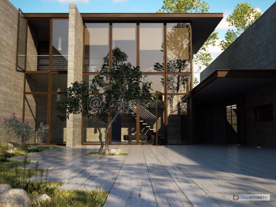Moderní prosklený dům.