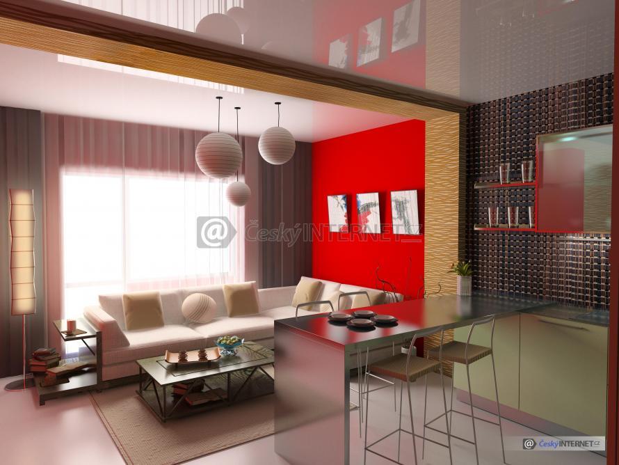 Spojení jídelního pultu s obývacím pokojem.