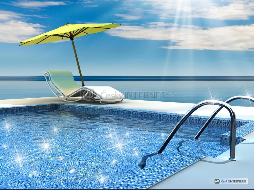 Bazén s výhledem na moře.
