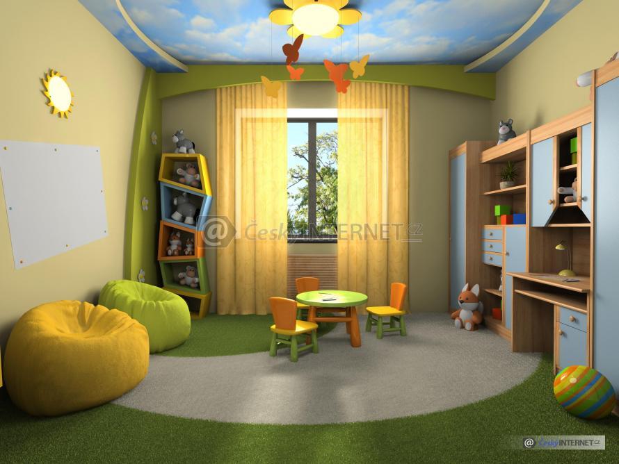 Prostorný moderní dětský pokoj.