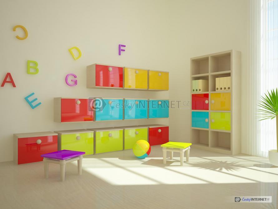 Aranž úložných prostorů dětského pokoje.