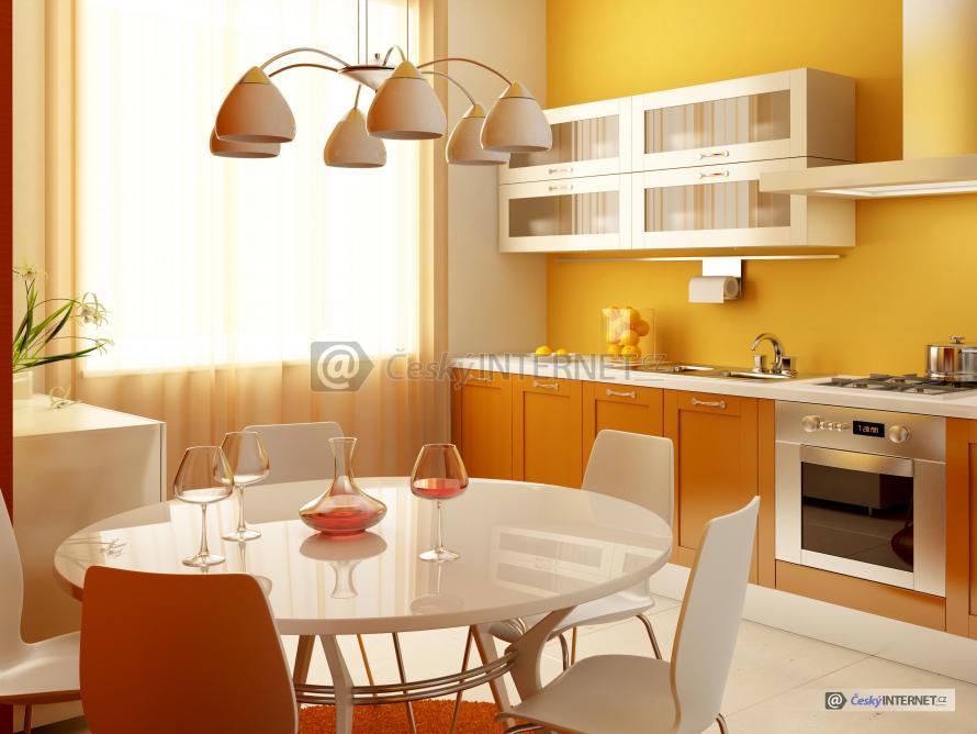 Moderní kuchyně, jednoduchý styl, pestré barvy.