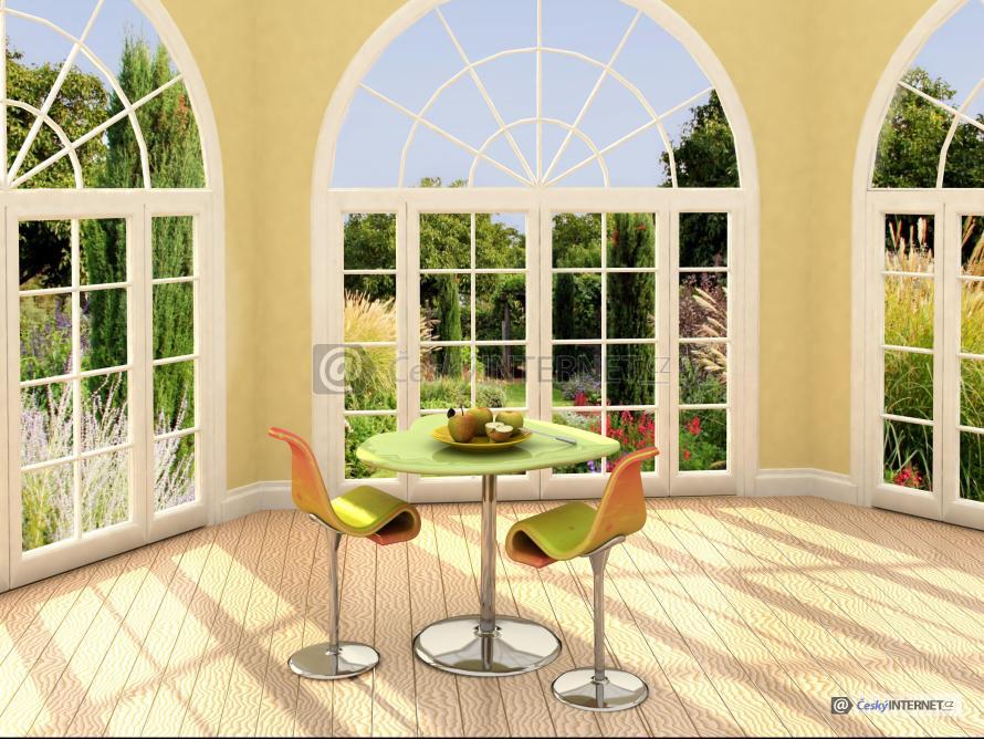 Moderní interiér, jídelní kout.