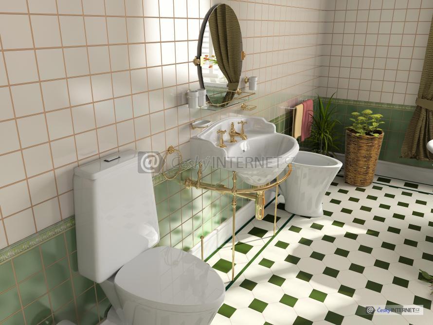 Moderní koupelna s pozlacenou retro baterií, doplňky a zrcadlem.