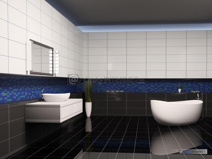 Moderní prostorná koupelna se samostatně stojící vanou.