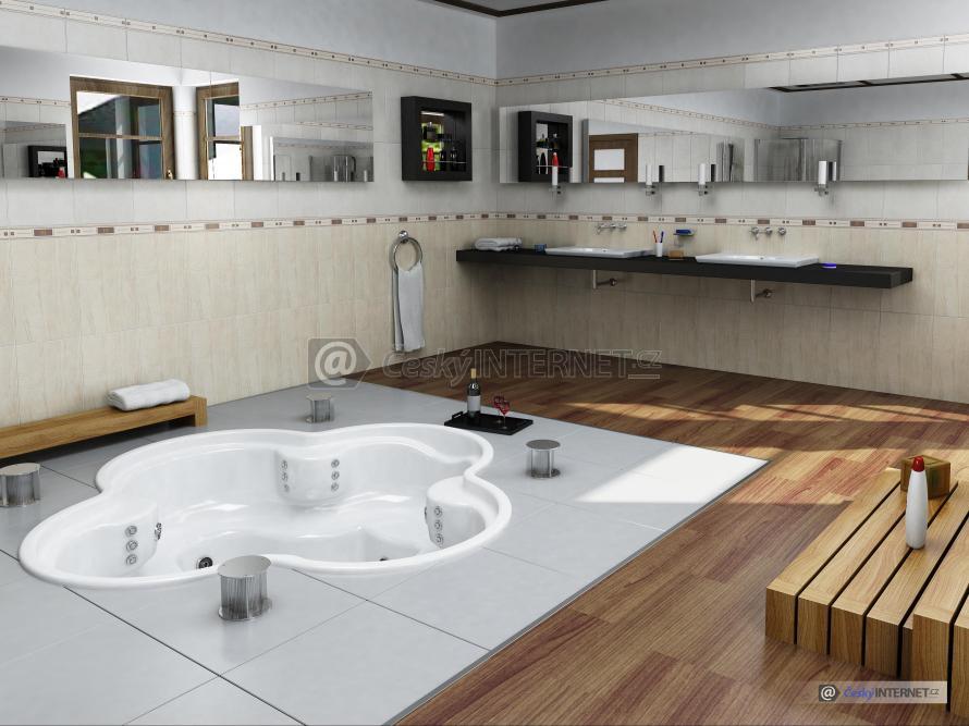 Moderní prostorná koupelna se zapuštěnou vířivkou pro 4 osoby.