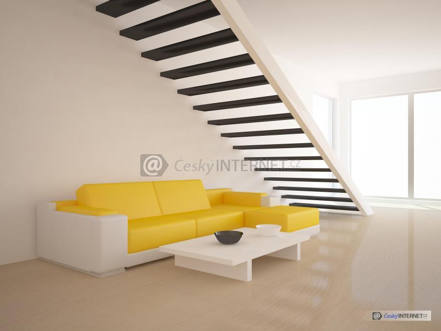 Kožená sedací souprava v interieru, schodiště.