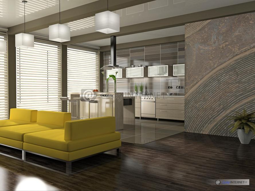 Spojení moderní kuchyně a jídelního pultu s obývacím pokojem, pohovka.