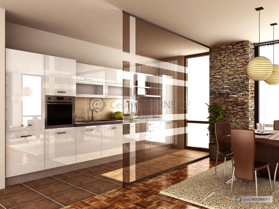 Prostorná moderní kuchyně s jídelním koutem.
