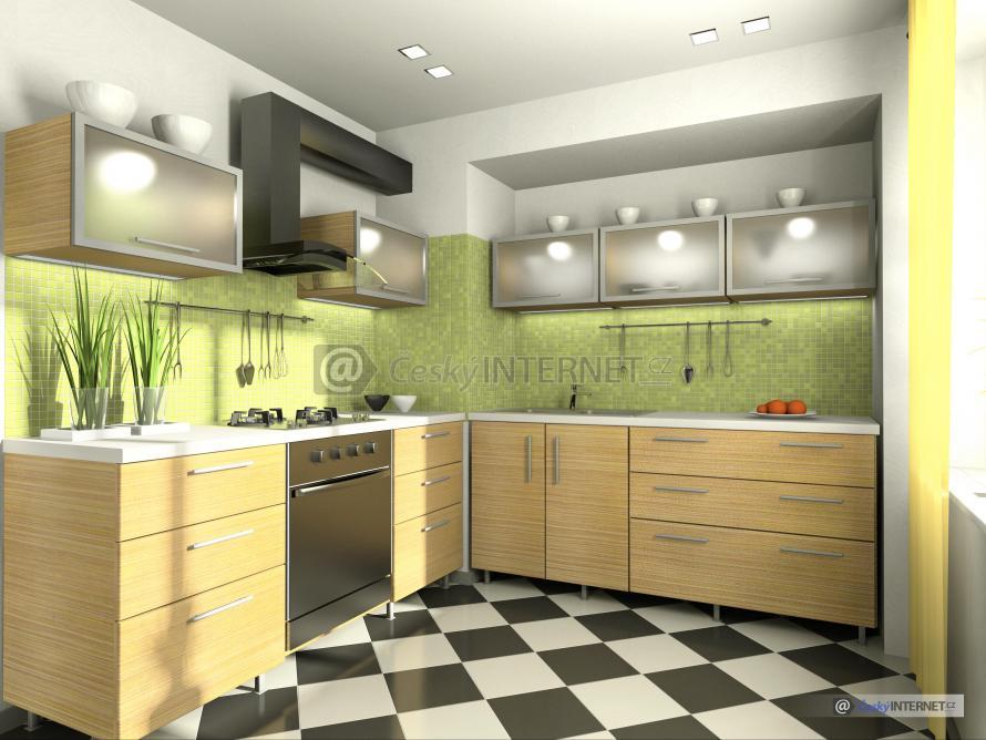 Moderní rohová kuchyně.