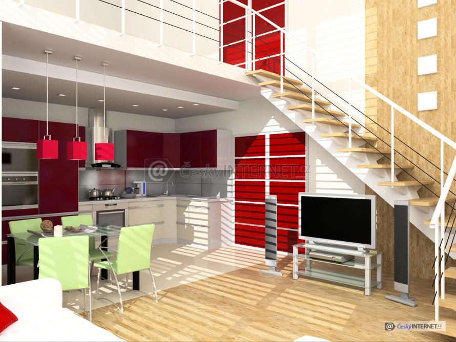 Moderní kuchyně, schodiště.