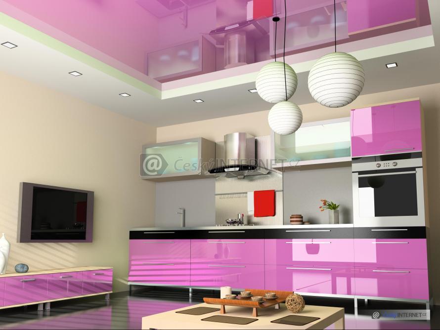 Spojení moderní kuchyně a obývacího pokoje.
