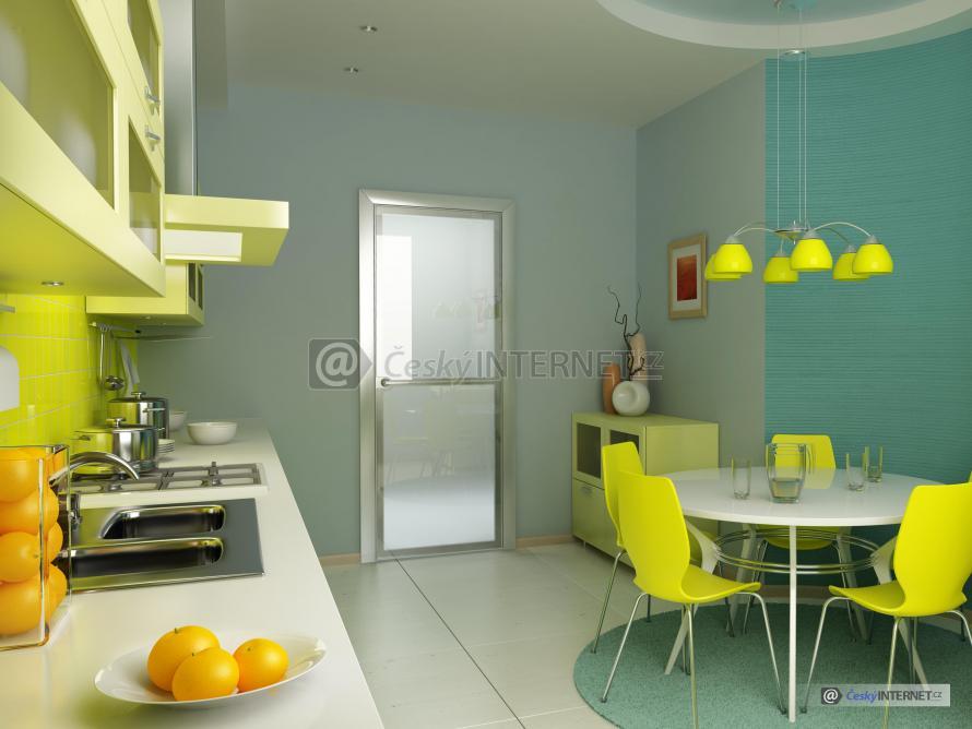 Moderní kuchyně s jídelním stolem.