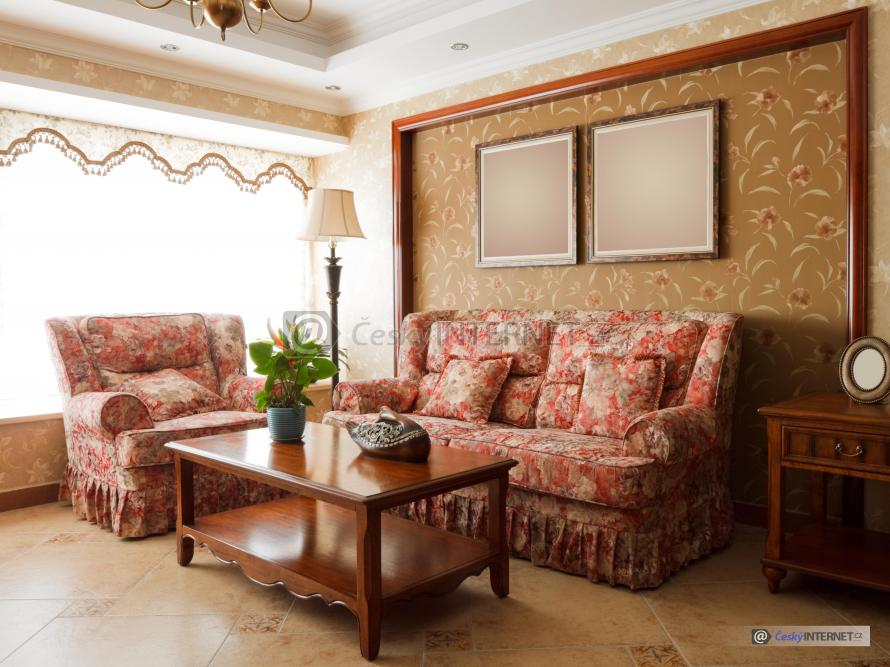 Obývací pokoj v retro stylu.