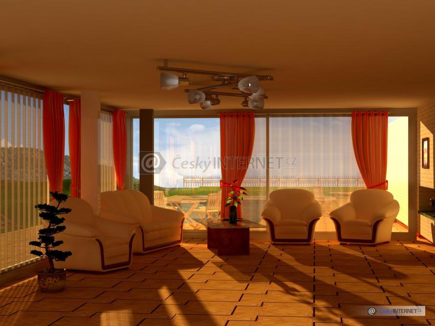 Moderní interiér, prosklený obývák.
