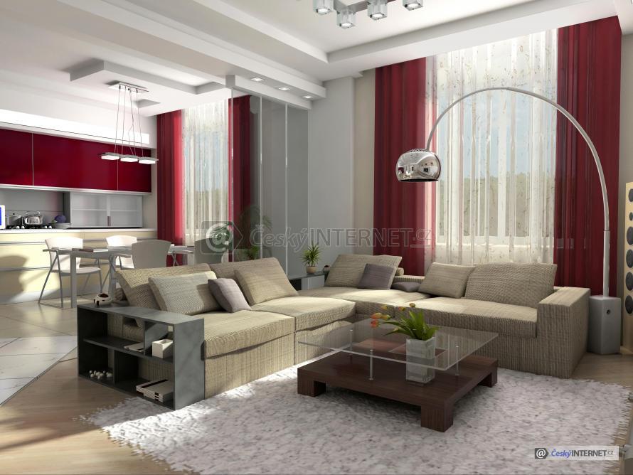 Spojení moderního obývacího pokoje a kuchyně.