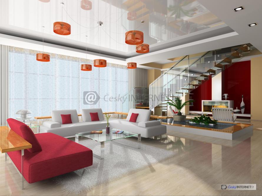 Moderní obývací pokoj, schodiště.