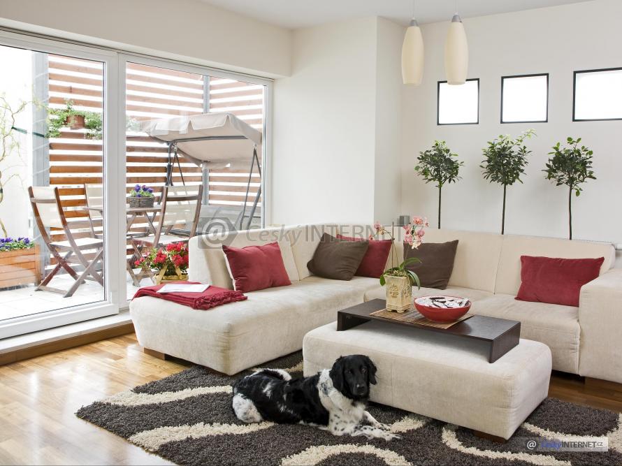 Obývací pokoj s prosklenou stěnou, terasa.