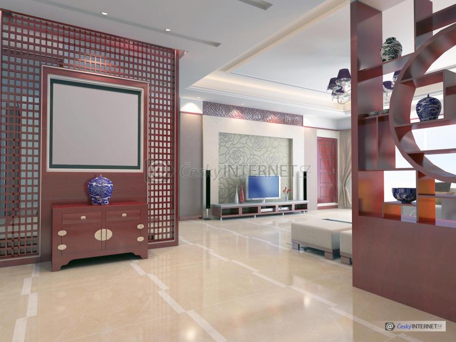 Moderní prostorný obývací pokoj.