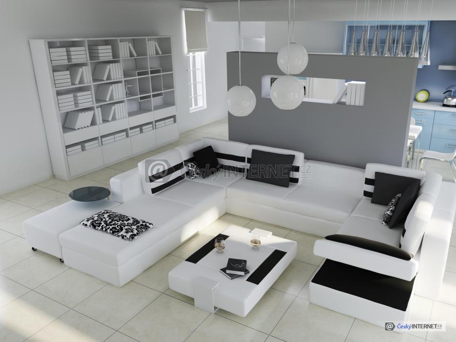 Spojení obývacího pokoje a kuchyně.