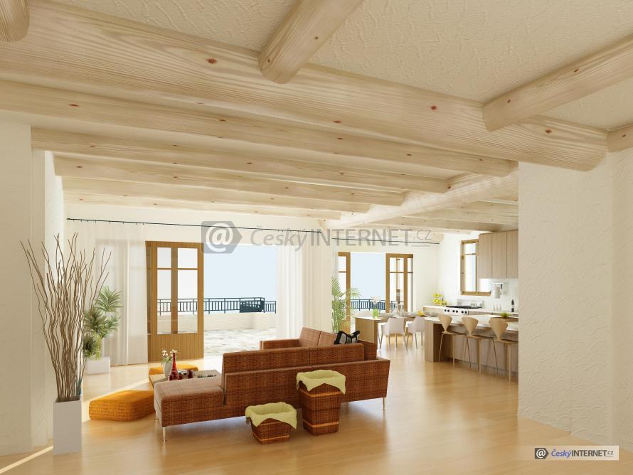 Moderní interiér s obývacím pokojem a kuchyní, terasa.