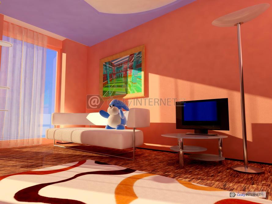 Obývací pokoj s prosklenou stěnou.