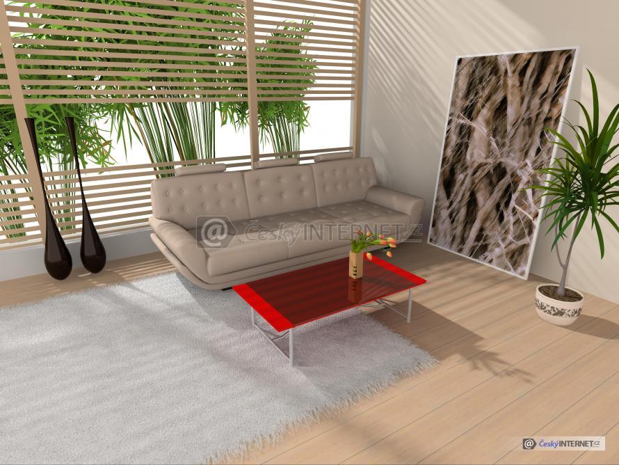 Obývací pokoj v proskleném interieru.